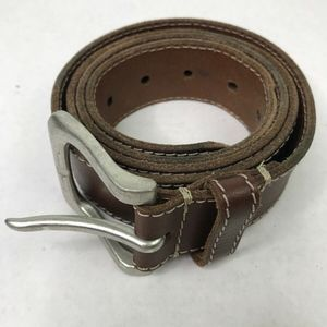 Timberland Leather Belt Silver Metal Durable 40
